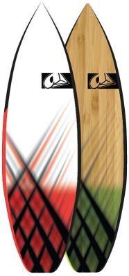 Two Airush boards in red and green