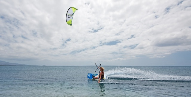 Rider on the water kiteboarding